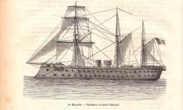 1884 - Gravure Sur Bois - Le Magenta - Vaisseau Cuirassé Français - FRANCO DE PORT - Boten