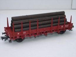 FLEISCHMANN H0,  5221, Wagon Plat à Ranchers Avec Chargement De Tubes - Wagons Marchandises