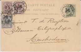 ENTIER 5C+paire2C+1C Bruxelles 5 Vers Amsterdam Correspondance Entre Marchands....155 Rue Du Midi - 1869-1888 Leone Coricato