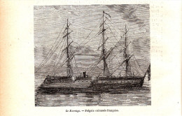 1884 - Gravure Sur Bois - Le Marengo - Frégate Cuirassée Française - FRANCO DE PORT - Boten