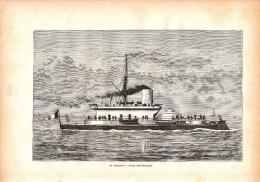 1884 - Gravure Sur Bois - Le Tonnerre - Garde-côte Français - FRANCO DE PORT - Boats