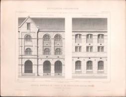 PLAN - MAISON De FORCE Et De CORRECTION, Prison à RENNES - Lot 3 Plans - Encyclopédie Architecture, Archi. NORMAND - Architecture