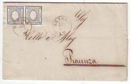 1863 - COPPIA 1 c. PER STAMPATI  ANNULLO ORTONA SU LETTERA PER PIACENZA  - AL RETRO TIMBRI DI TRANSITO E DI ARRIVO