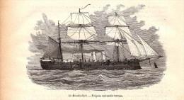 1884 - Gravure Sur Bois - Le Memdoohieh - Frégate Cuirassée Turque - FRANCO DE PORT - Bateaux