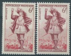 [04] Variété : N° 943 Gargantua Rouge-carminé Au Lieu De Bordeaux + Normal  ** - Varieties: 1950-59 Mint/hinged