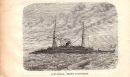1884 - Gravure Sur Bois - Le Rochambeau - Monitor De Mer Français - FRANCO DE PORT - Boten