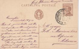 E14 Italia Italien Italie Interi Postali Ganzsache Entier Filagrano C 65 Cannobio Milano - 1900-44 Victor Emmanuel III