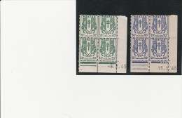 COINS DATES  TIMBRES CHAINES BRISEES - N° 671 ET 673  - 8-2-45 ...- 15-1-45 - 1940-1949
