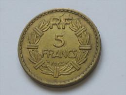 5 Francs Lavrillier 1945 C *****  En Achat Immédiat  ***** - France