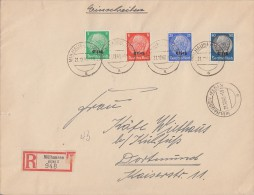 Elsass R-Brief Mif Minr.3,5,10,15 Mülhausen (Els.) 21.12.40 Gel. Nach Dortmund - Besetzungen 1938-45