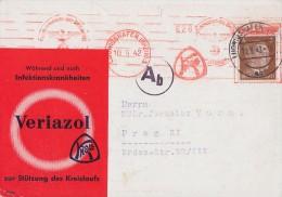 DR Werbekarte Veriazol EF Minr.782 Ludwigshafen 10.9.42 Gel. Nach Prag Zensur - Briefe U. Dokumente