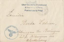 DR Feldpostbrief Über Dt. Dienstpost Böhmen U. Mähren Postleitstelle Prag 11.12.39 - Besetzungen 1938-45