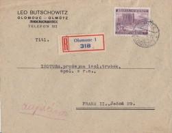 Böhmen & Mähren R-Brief EF Minr.33 Olomouc - Böhmen Und Mähren