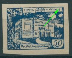 Mittellitauen 1922 Freimarke 46 B Mit Plattenfehler Postfrisch (R7096) - Lithuania