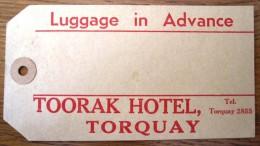 HOTEL MOTOR MOTEL TOORAK TORQUAY LONDON UK ENGLAND GREAT BRITAIN STICKER DECAL LUGGAGE LABEL ETIQUETTE AUFKLEBER - Hotel Labels
