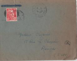 France 1949  Lettre  Marianne De Gandon 15 F  Cachet Paris A Brest Rapide 6-6- 1949 Avec Correspondance - Postmark Collection (Covers)