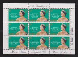 Solomon Islands 1980 Queen Mother Birthday Sheet Of 9 MNH - Salomon (Iles 1978-...)