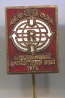 URD International cooperative day, vintage pin badge, enamel