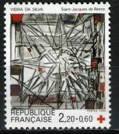 FRANCE 2449**  2,20f + 60c   Gris, Noir Et Rouge  Croix Rouge 1986  Vitrail De Vieira Da Silva - France