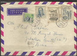 CZECHOSLOVAKIA, 1965 Postally Used Airmail Cover 4 Stamps,Glassware,Textiles,President, Kosice City. - Briefe U. Dokumente