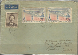 CZECHOSLOVAKIA, 1958,  Postally Used Cover With Pair  Of  1957 Czechoslavak Airlines Stamps, Posted To India. - Czechoslovakia