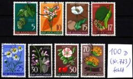 Jugoslawien 1955 MiNr. 765/772 (ohne/without 773)  O  Flora I.  Heilpflanzen - Heilpflanzen