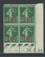 France N° 476 X : 30 C. Sur 35 C. Vert En Bloc De 4 Coin Daté Du 24 . 8 . 38  : Sans Point Blanctrace Charnière SinonTB - Angoli Datati
