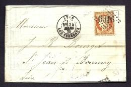LETTRE CLASSIQUE DE 1875 TIMBRE CERES 40 Ct ORANGE  N°38- RELEVÉ DE COMPTE AVEC TIMBRE FISCAL INTERIEUR- 4 SCANS - 1849-1876: Classic Period