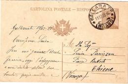 CARTOLINA POSTALE   - RISPOSTA C 62 MILLESIMO 26 - 1878-00 Umberto I