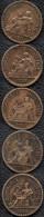 FRANCE 1922-1926 Domard 50 C Lot De 5 Pièces De Monnaie / Coin / Münze Bronze [J01o] - France