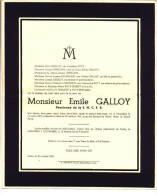 Faire-part Décès Emile GALLOY Pensionné S.N.C.F.B. Liberchies 1871Luttre 1940 (Poty, Ghislain, Heusghem, Gobert) - Obituary Notices