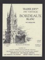Etiquette De Vin   -    -  Bordeaux Blanc    -  1987 - Bordeaux