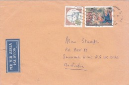 Italy 1998 Cover Sent To Australia, Christmas 900 Lire + Castle 500 Lire - 6. 1946-.. Republic