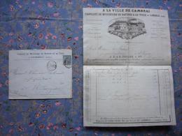 Facture + Enveloppe Illustrée A La Ville De Cambrai  Cambrai 59  Fabrique Mouchoirs Batiste Et Toile 1888 - Publicidad