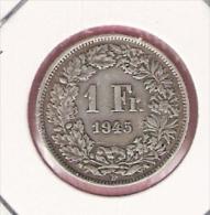 ZWITSERLAND 1 FRANC 1945 SILVER - Monnaies