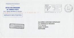 ENVELOPPE OBLITEREE SERVICE DES POSTES MONACO - MAGIC STARS CIRQUE - THEATRE PRINCESSE GRACE - Circo
