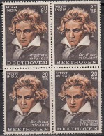 India MNH  (Gum Washed) 1970, Block Of 4, Ludwing Beethoven, Music Composer - Blocchi & Foglietti