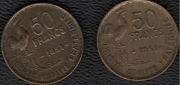 FRANCE 1951 Guiraud 50 F Lot De 2 Pièces De Monnaie / Coin / Münze Bronze [J03a]