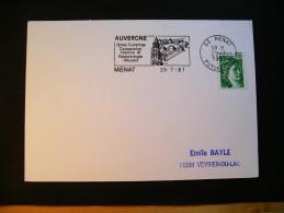 2 Cartes Menat - Flamme  29 7 81 (Auvergne) Et Montier En Der- Flamme 27 5 80  (Haute-Marne) - 1977-81 Sabina Di Gandon