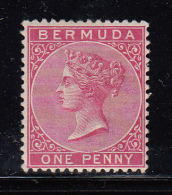 Bermuda MH Scott #19c 1p Victoria, Carmine Rose - Bermudes