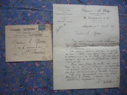 Facture + Enveloppe Illustrée B. Catalan & Cie Montpellier 34  Cie Le Derby Costumes De Chasse Et Cheval 1895 - Pubblicitari
