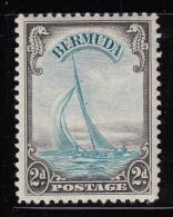 Bermuda MH Scott #109 2p Yacht 'Lucie', Brown Black & Turquoise - Bermudes