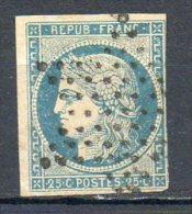 FRANCE - 1849-50 - Type Cérès - N° 4 - 25 C. Bleu (Oblitération : Etoile Pleine De Paris) - 1849-1850 Cérès