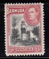 Bermuda MH Scott #121 3p St. David´s Lighthouse, George VI - Clipped Perfs - Bermudes