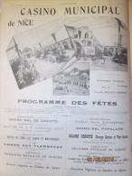 1903 Le Casino Municipal De NICE   PROGRAMME  DES FETES  GRANDE  PHOTO PUBLICITAIRE - Oude Documenten