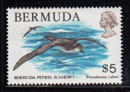 Bermuda MNH Scott #379 $5.00 Bermuda Petrel (Cahow) Pre-print Paper Fold Upper Right Corner - Bermudes