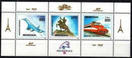 MONGOLIE Philexfrance 89, Concorde, TGV, Tour Eiffel. Yvert BF 136. MNH. ** - Universal Expositions