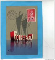 Carte Postale Illustrée-foire De Paris 1941+oblitération Concordante Sur Tp Pétain - Expositions