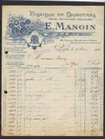 Facture 9/3/1916 E MANGIN Rue Du Moulin De La Pointe PARIS - Fabrique Couronnes Métal - Lyres Harpes Ancres Croix ... - 1900 – 1949