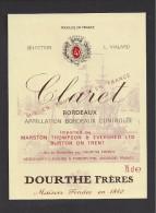 Etiquette   -    Claret  -   Bordeaux   -   ND Années 80  ? - Bordeaux